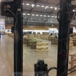A view from one of the many forklifts used in the build.