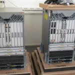 Picture by DreamHack Network - The Cisco ASR 9000s being unpacked